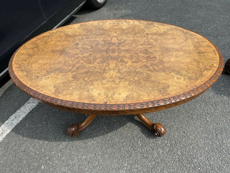 19th Century English Victorian Burl Walnut Inlaid Loo Coffee Table