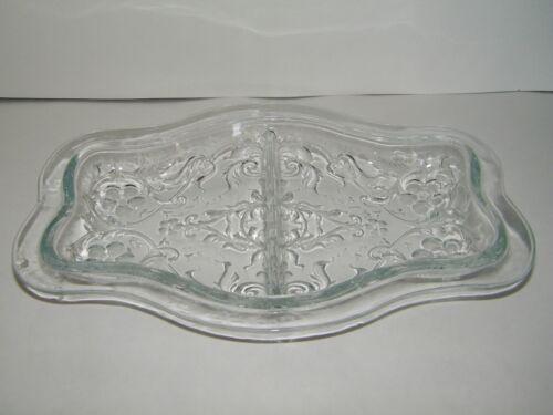 Glass 2 Section Condiment Serving Bowl/Dish With Floral Designs Antique/Vintage