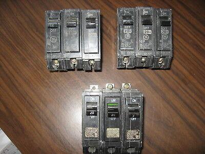 Lot Of 9 Ge Thqb1120 Bolt On Circuit Breakers 20 Amp 1 Pole 120 Volt Thqb120