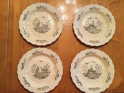 4 Vintage China Wedgewood Plates, Williamsburg, Liverpool Birds, Creme