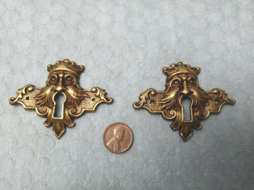 Figural Keyhole Escutcheons Curved Back Brass 2