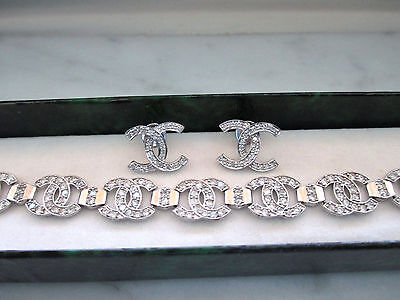 Beautiful Solid White Gold Braclete and Natural Diamond Earrings Set, 16.39gm