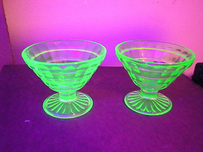 2 Green Vaseline Block optic Hocking Glass Cone Sherbet non stemmed cups or bowl