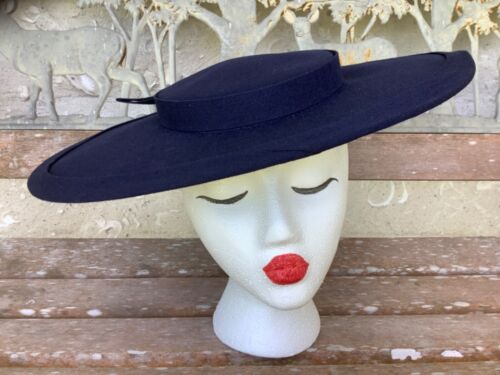 Vintage Saucer Tilt Hat Womens Navy Blue Cloth Cotton Bow Tailored Dressy Party