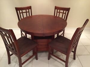 """:  42"""" round;   42"""" X 60"""" oval table and 4 chairs"""