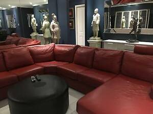 Six -Seat Red Leather Curved Corner Lounge Set Potts Point Inner Sydney Preview