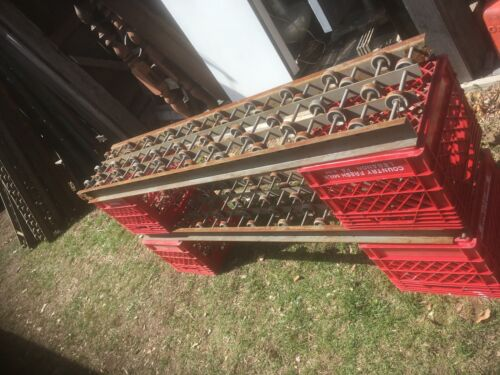 Vintage Gravity Roller Conveyor Metal Sheving Steam Punk Industrial Salvage