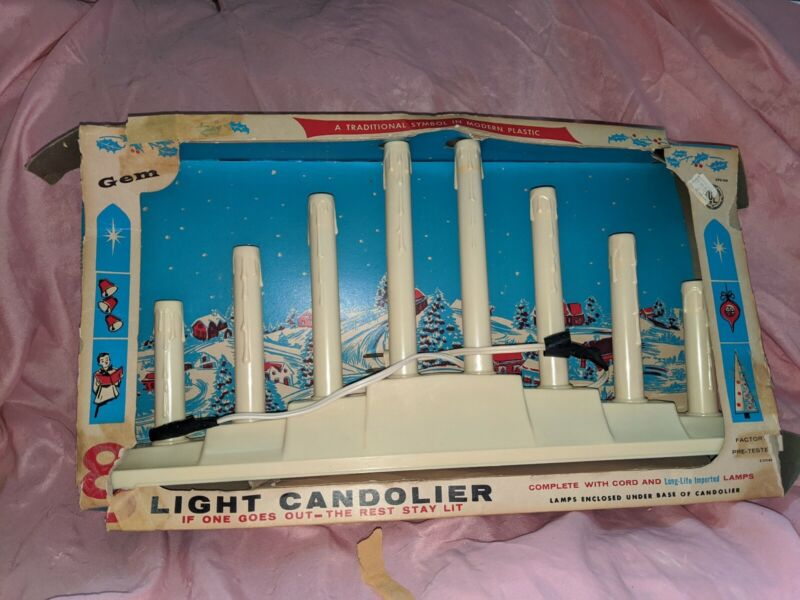 8 Light Candolier Vintage Box Candelabra Candle Working Christmas Lights Holiday