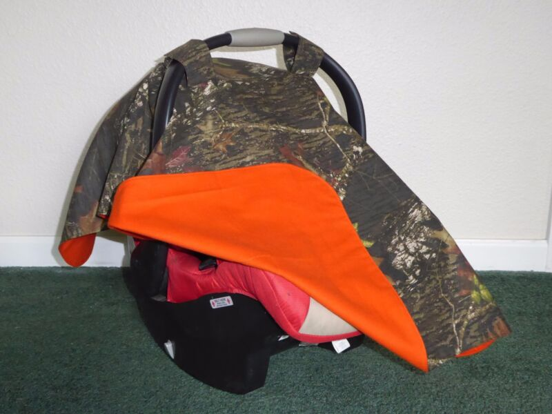 **MOSSY OAK** Camo w/Blaze Orange Handmade Baby Infant Car Seat Canopy-Cover