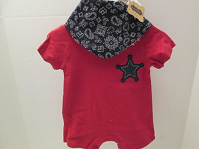 Mud Pie Sheriff Baby Outfit, Red 1-Piece with Blue Cotton Bib, NWT](Sheriff Outfit)