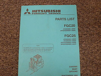 Mitsubishi Models Fgc20 Fgc25 Forklift Lift Truck Parts Catalog Manual Book