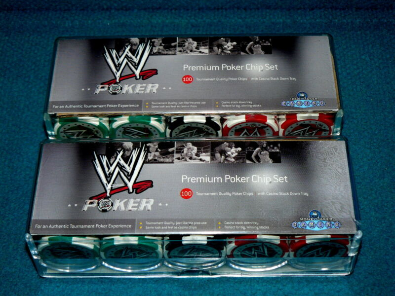 WWE WRESTLING : Premium Poker Chips : 2 Sets of 100 Tournament Quality GAMBLING