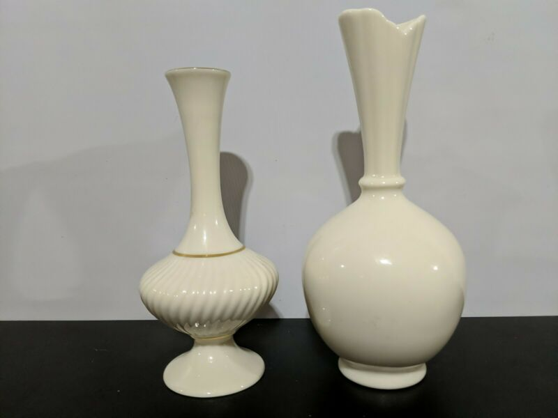 """Set of 2 LENOX Bud Vases Round 8"""" and 7"""" - Classic Traditional Ivory Made in USA"""