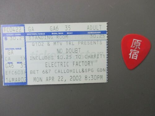 No Doubt Concert Ticket Stub April 22, 2002 Electric Factory + Guitar Pick !