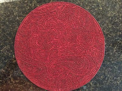 """ONE  KIM SEYBERT 15"""" RED Beaded PLACEMAT  HANDCRAFTED  NEW IN BAG Round"""