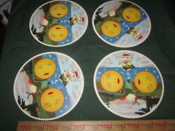 Vintage Lot of 4 Grandfather Clock Moon Phase Dial Disc  NOS New Old Stock
