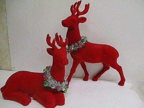 """LARGE 14.5"""" Pair Vintage style Red Flocked Deer Reindeer tinsel Christmas decor"""