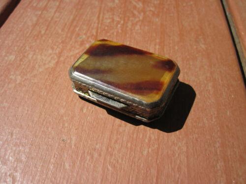 1930s Italian .800 Silver & Faux Tortoiseshell Snuff Box / Pill Box