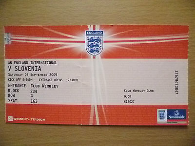 2009 Tickets Stubs- ENGLAND INTERNATIONAL v SLOVENIA, 05 Sept