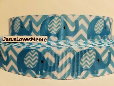 Teal Ribbons (Grosgrain Ribbon Teal Elephants on Teal Chevron Wild Animals Africa,)