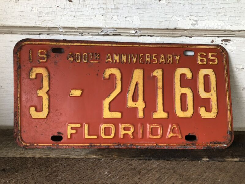 Vintage License Plate Florida 400th Anniversary 1965