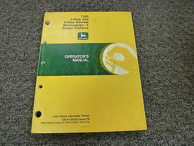 John Deere 7200 4 6 Row Narrow Drawn Planter Owner Operator Manual Omh139535