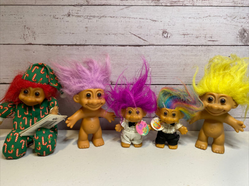 "Vintage Russ Berrie Lot Of 5 Trolls - 5"", 4"", 3""  Rainbow Troll, Sparkling Good"