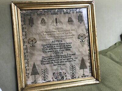 Antique Signed & Dated 1832 English Needlework School Girl Sampler As is