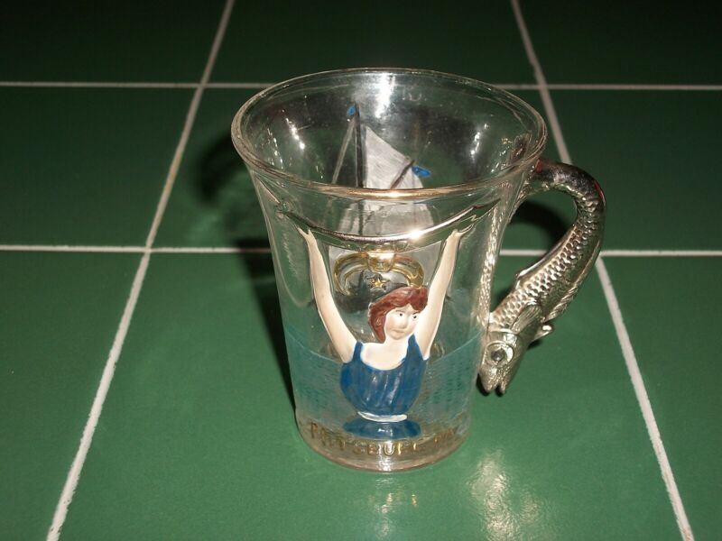 Bathing Beauty 1904 Glass Cup Masons Syria Pittsburg Atlantic City Fish Handle