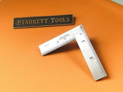 Vintage STARRETT No.21   3 x 2 Inch Thin Steel Try-Square. Made in the USA.