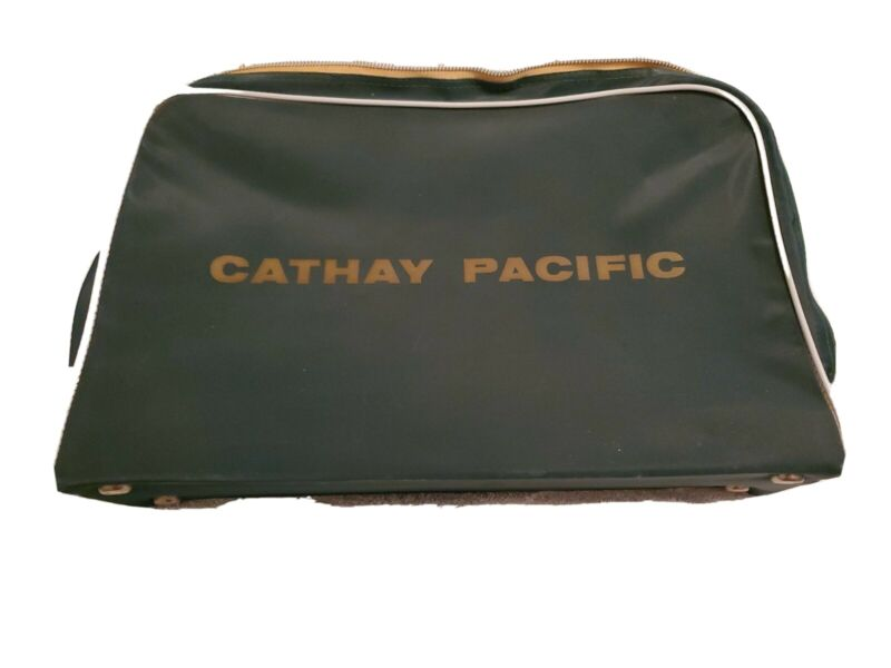 Rare Vintage Cathay Pacific Zippered Case Suitcase Airline