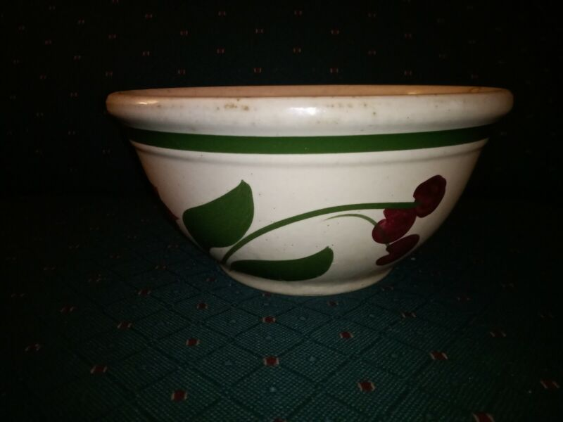 """Watt Ware Pottery #8 Bowl in Cherry - Stamped """"Farmers Grain and Stock Co."""""""