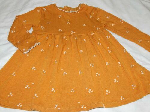 ZARA Girls size 2-3 Years Golden Rod Viscose Heart Twirl Dress Fall Harvest Gold