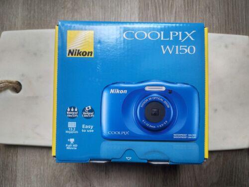 Nikon CoolPix W150 Digital Camera - Shockproof Waterproof Wifi - Blue - New