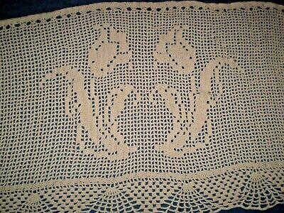 Sale--Vintage or Antique Set of Two Beige Large Floral Flowers Crochet  Lace Tiers Curtains 44 Wide x 23 Long Each EVC