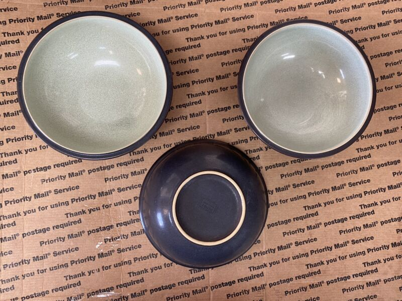 3 Denby Speckled Green Cereal Bowls