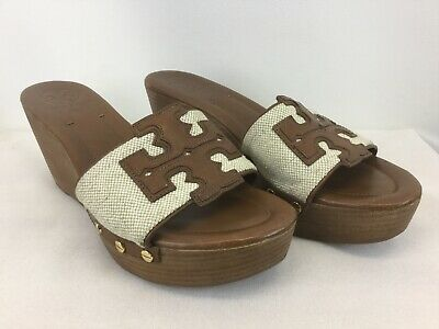 Tory Burch Shoes Sandals Wedge Sz 9 M Brown Leather & Canvas TB Logo