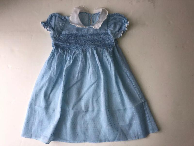 Vintage Toddler Child Smocked Dress Blue White