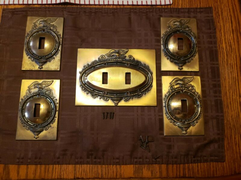 Lot of 5 Vintage Stamped Oval Federal Eagle Light Switch Wall Plate Covers