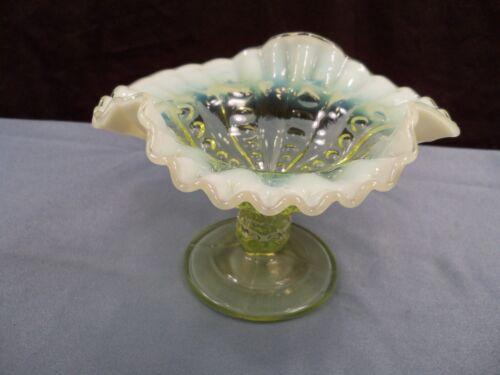Dugan Vaseline Opalescent Glass PRESSED COINSPOT CONCAVE COLUMNS Compote