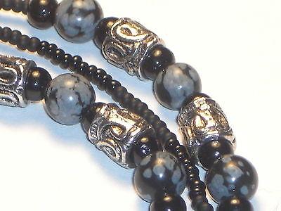 "Macho Men's Hand Beaded Eyeglass Chain~Matte Black Obsidian~30""~Buy 3 SHIP FREE"
