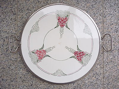 Jugendstil Tortenplatte Keramik Metall Spritzdekor