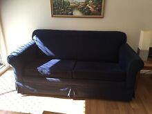 3-Seater Navy Blue Sofa Bed Hornsby Hornsby Area Preview