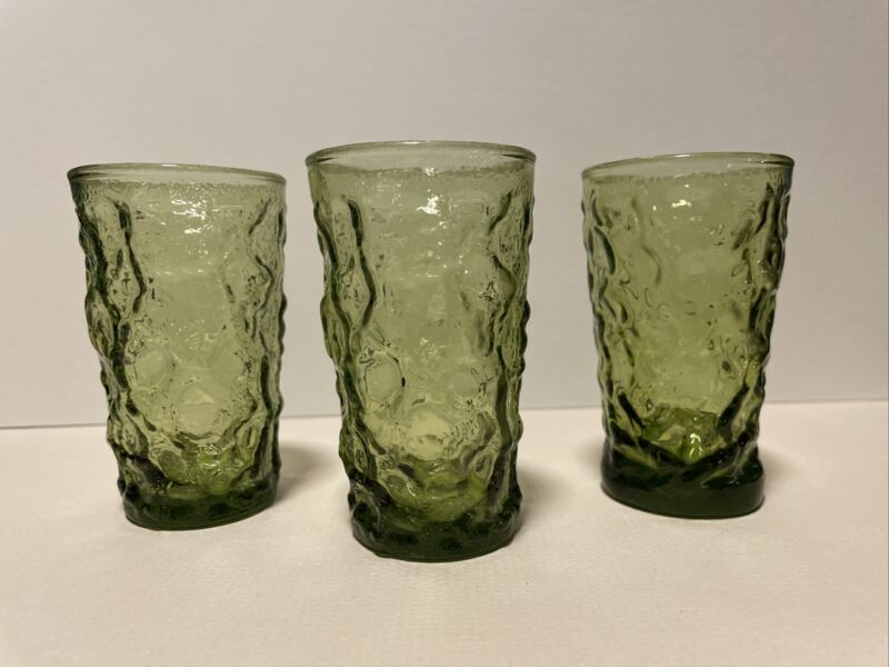 3 VTG Anchor Hocking Lido Milano MCM Avocado Green Crinkle Juice Glasses