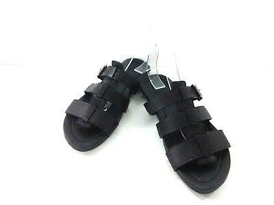 Auth LOUIS VUITTON Black Leather FD0122 Sandal Men
