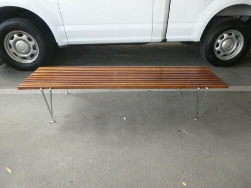 MID CENTURY MODERN HUGH ACTON SLATTED WOOD BENCH