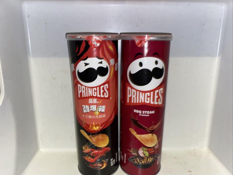 rare and exotic Pringles crawfish and Pringles barbecue steak