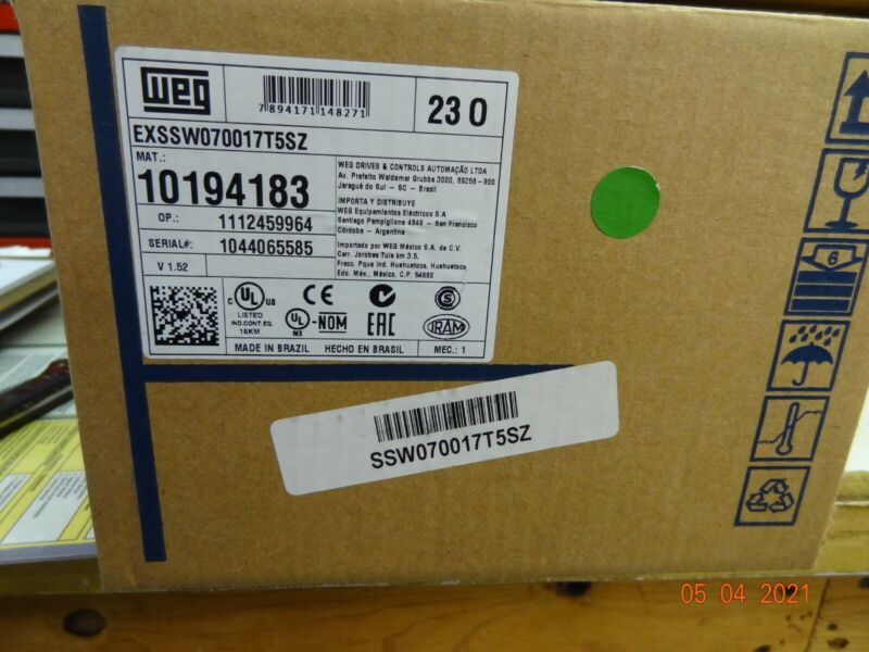 New Weg Soft Start SSW070017T5SZ 220-575 Volts 3-17 Amps