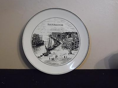 Black & White Barbados Port Decorative Plate 10 1/4 Inch Diameter ()