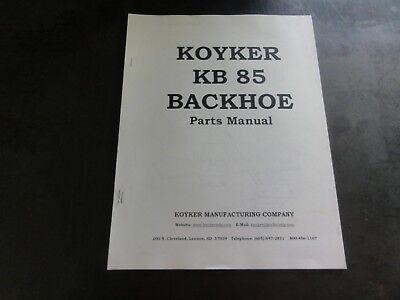 Koyker Kb85 Backhoe Parts Manual